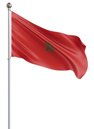 Morocco flag blowing in the wind. Background texture. 3d rendering, waving flag. Isolated on white. Illustration.