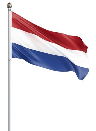 Netherlands flag blowing in the wind. Background texture. 3d rendering, wave. Isolated on white. Illustration.