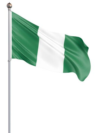 Nigeria flag blowing in the wind. Background texture. 3d rendering, waving flag. Isolated on white. Illustration. Zdjęcie Seryjne