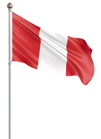 Peru flag blowing in the wind. Background texture. 3d rendering, isolated on white. Illustration. Zdjęcie Seryjne