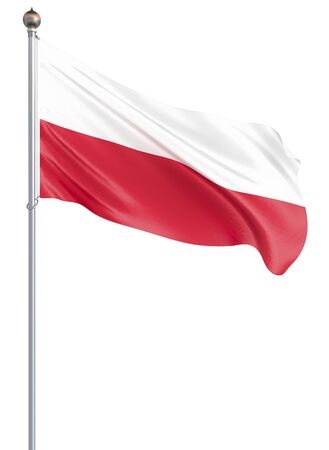 Poland flag blowing in the wind. Background texture. 3d rendering; wave. Isolated on white. Illustration.