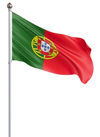 Portugal flag blowing in the wind. Background texture. Lisbon. 3d rendering, wave. – Illustration