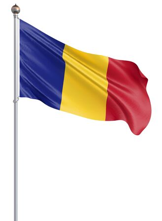 Romania flag blowing in the wind. Background texture. Bucharest, Romania. 3d rendering, wave. - Illustration. Isolated on white. Banco de Imagens