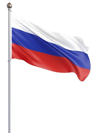 Waving colorful national flag of russia. Background texture. 3d rendering, wave. - Illustration Banco de Imagens
