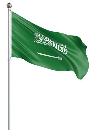 Saudi Arabia flag blowing in the wind. Background texture. Riyadh. 3d rendering, waving flag. - Illustration. Isolated on white.