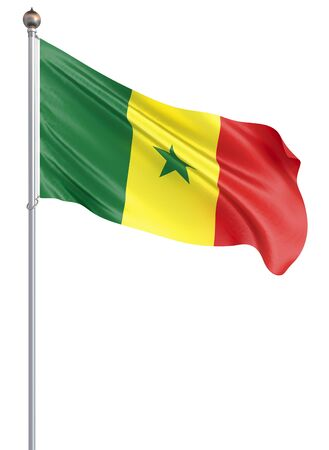 Senegal flag blowing in the wind. Background texture. 3d rendering, wave. Isolated on white. Zdjęcie Seryjne
