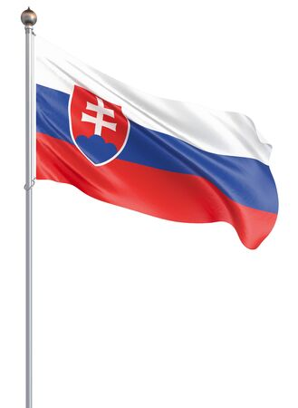 Slovakia flag blowing in the wind. Background texture. 3d rendering, wave. Isolated on white. Illustration. Banco de Imagens