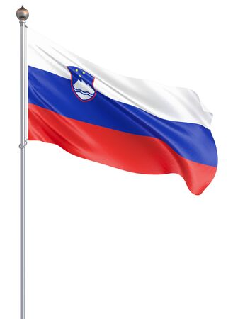 Slovenia flag blowing in the wind. Background texture. 3d rendering, wave. Isolated on white. Illustration. Banco de Imagens