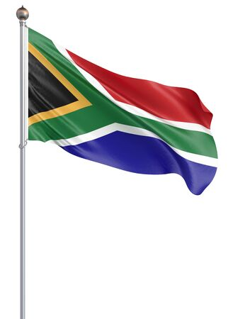 Flag of South Africa blowing in the wind. Background texture. 3d rendering; waving flag. – Illustration.