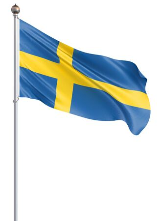 Sweden flag blowing in the wind. Background texture. 3d rendering, wave.; Banco de Imagens