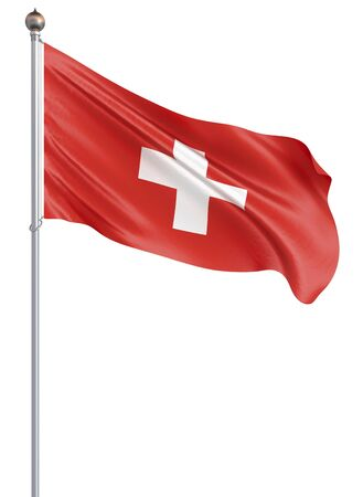 Switzerland flag blowing in the wind. Background texture. 3d rendering, wave. - Illustration. Isolated on white. Banco de Imagens