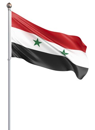 Syria flag blowing in the wind. Background texture. 3d rendering; wave. Isolated on white. Illustration.