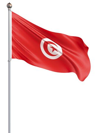 Tunisia flag blowing in the wind. Background texture. 3d rendering, waving flag. Isolated on white. Illustration. Zdjęcie Seryjne