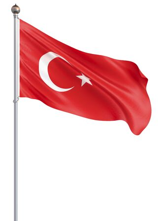 Turkey flag blowing in the wind. Background texture. 3d rendering; wave. Isolated on white. Illustration. Banco de Imagens