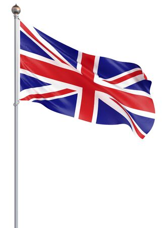 Waving flag of United Kingdom state. Illustration of European country flag on flagpole with red and white colors. 3d icon isolated on white background - Illustration Banco de Imagens