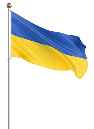 Ukraine flag blowing in the wind. Background texture. 3d rendering; wave. Isolated on white. Illustration.