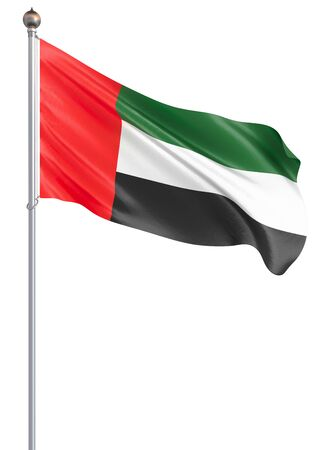 United Arab Emirates flag blowing in the wind. Background texture. 3d rendering, wave - Illustration. Isolated on white.