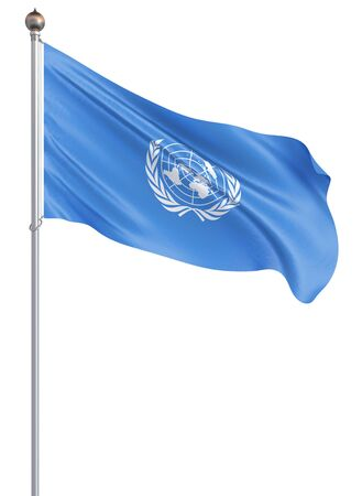 United Nations flag. Isolated on white. Illustration.