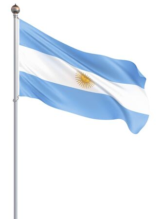 Argentina flag blowing in the wind. Background texture. 3d rendering, waving flag. – Illustration. Buenos Aires.