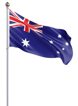 Australia flag blowing in the wind. Background texture. 3d rendering, waving flag. - Illustration