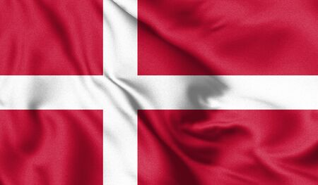 Denmark flag blowing in the wind. Background texture. 3d Illustration.