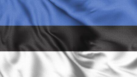 Waving flag of Estonia. 3d Illustration.