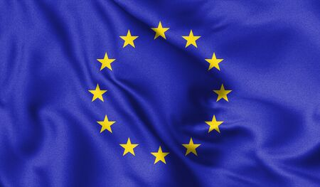 European Union waving flag, 3d illustration.