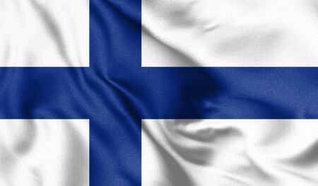 Finland flag blowing in the wind. Background texture. 3d Illustration. Zdjęcie Seryjne