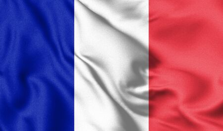 France flag blowing in the wind. Background texture. 3d Illustration.