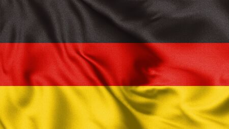 Germany flag blowing in the wind. Background texture. 3d Illustration.