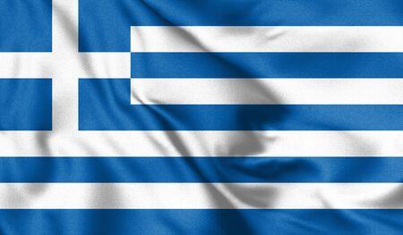Greece flag. Waving flag of Greece. Athens. 3d Illustration. Zdjęcie Seryjne