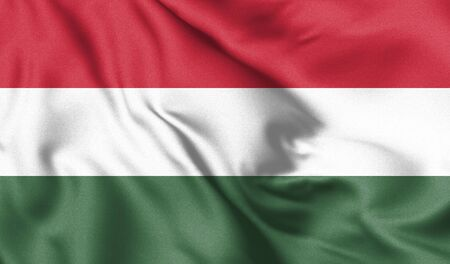 Hungary flag. Waving flag of Hungary. 3d Illustration.