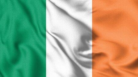 Ireland flag. Waving flag of Ireland. 3d Illustration.