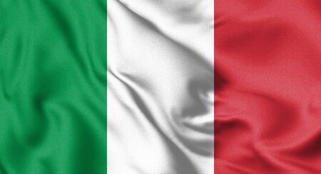 Italy flag blowing in the wind. Background texture. 3d Illustration.