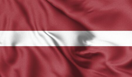 Latvia flag blowing in the wind. Background texture. 3d Illustration.