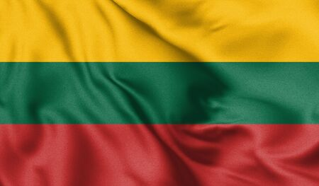 Lithuania flag blowing in the wind. Background texture. 3d Illustration.