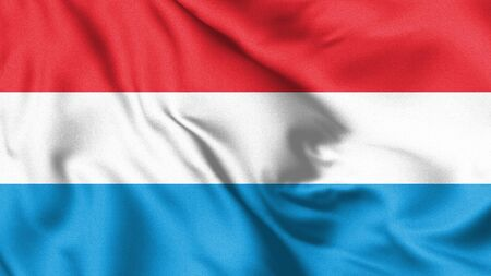 Luxembourg flag blowing in the wind. Background texture. 3d Illustration.