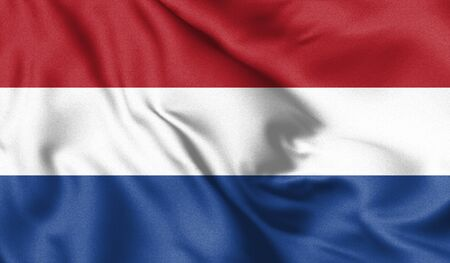 Netherlands flag blowing in the wind. Background texture. 3d illustration.