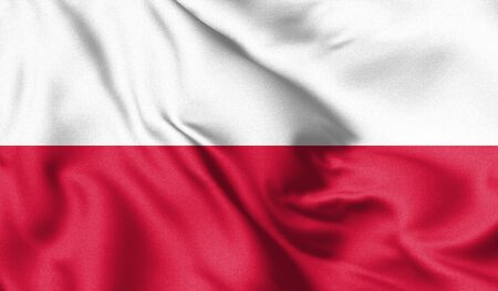 Poland flag blowing in the wind. Background texture. 3d Illustration.