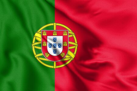 Portugal flag blowing in the wind. Background texture. Lisbon. 3d Illustration.