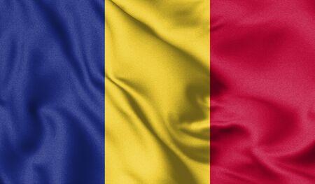Romania flag blowing in the wind. Background texture. Bucharest, Romania. 3d Illustration. Zdjęcie Seryjne