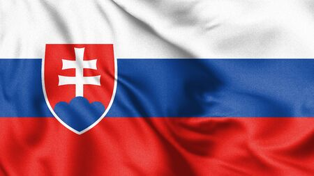 Slovakia flag blowing in the wind. Background texture. 3d Illustration. Zdjęcie Seryjne