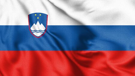 Slovenia flag blowing in the wind. Background texture. 3d Illustration.