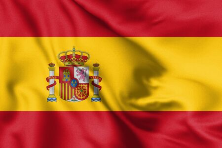 Spain flag blowing in the wind. Background texture. 3d Illustration.