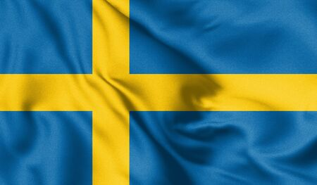 Sweden flag blowing in the wind. Background texture. 3d Illustration. Zdjęcie Seryjne
