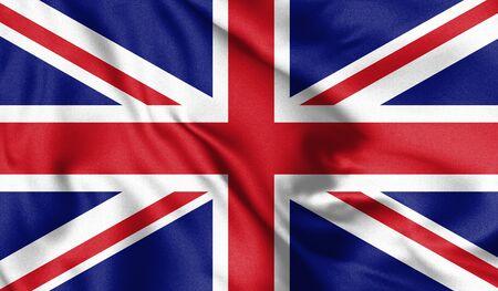 Waving flag of United Kingdom state. 3d Illustration.