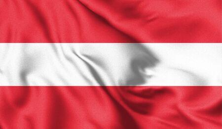 Austria flag blowing in the wind. Background texture. Vienna, Austria. 3d Illustration. Zdjęcie Seryjne