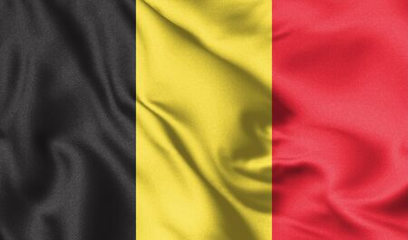 Belgium flag blowing in the wind. Background texture. Brussels, Belgium. 3d Illustration.
