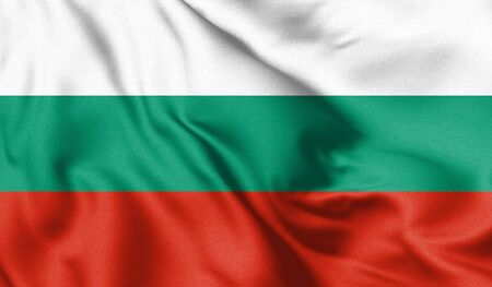 Bulgaria flag blowing in the wind. Background texture. Sofia, Bulgaria. 3d Illustration.