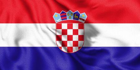 Waving flag of Croatia. 3d Illustration.